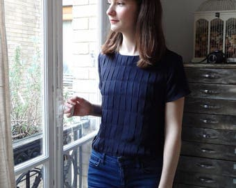 Midnight blue silk top pleated