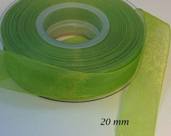 20 mm lime green organza voile Ribbon iridescent