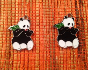 adorable panda eating bamboo as a pendant enameled metal, black and white, individually