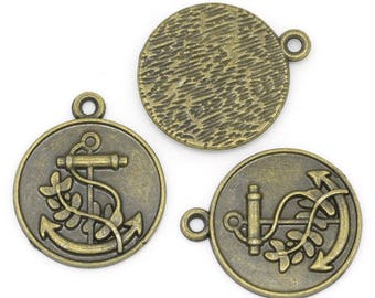 4 anchor charms, bronze, for creative art