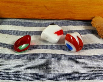 3 glass beads raw shape, polished, red, white, blue, green