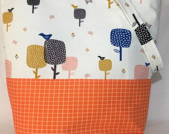 Project bag - modern bird fabric