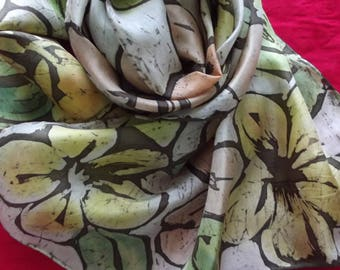 """""""fall tone"""" silk scarf with flowers"""