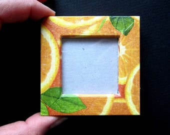 "Magnet picture frame wood - ""Orange slices"" - green/orange colors - custom"
