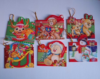 Double set of 6 cards for gifts and Christmas gifts, 5, 5x8cm about