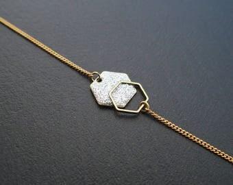 Minimalist bracelet Hexagon silver glitter - enameled jewelry