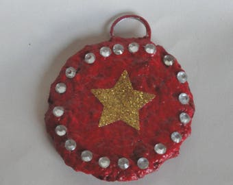 Christmas tree ornament star gilded on red RESERVE