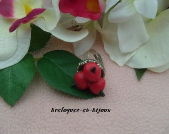 RING 3 fruity cherry adjustable silver-plated jewelry small 3 cherries modeling unique polymer clay
