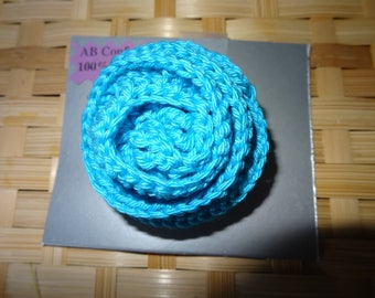 "Brooch ""Rose bloom"", crochet, turquoise"