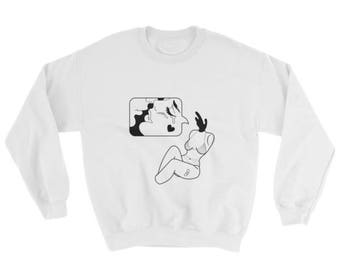 Crewneck, shirt, clothing, white, illustration, drawing, print, graphic