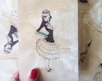 LADY postcard - illustration