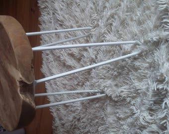 industrial stool wood teak and foot pin