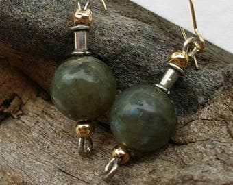 Labradorite earrings with sterling siver and 14k gold