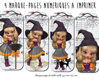 """4 bookmarks digital print """"Miss at the school of witches"""" Halloween theme"""
