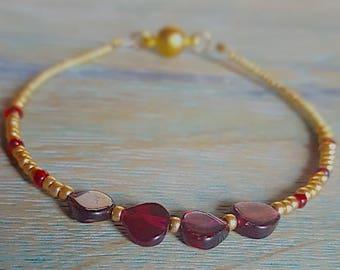 Genuine Garnet and Gold Beaded Bracelet