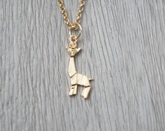 So origami - gold giraffe pendant necklace
