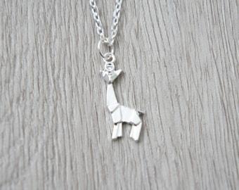 So origami - silver giraffe pendant necklace