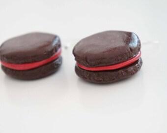 Macarons - chocolate polymer clay earrings