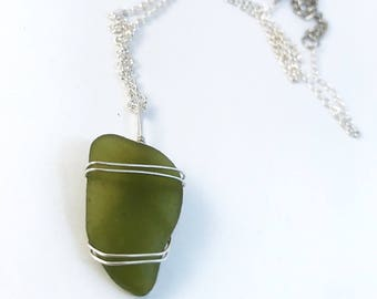 Olive green sea glass necklace with adjustable chain
