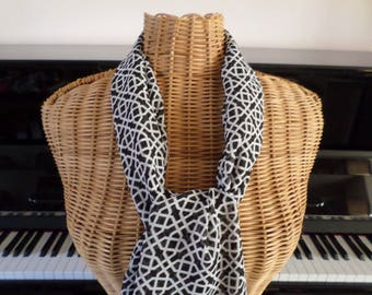 black and Ecru chiffon fabric scarf