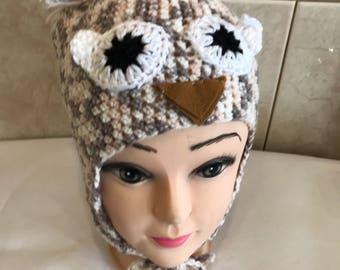 Beanie childs Owl acrylic yarn 40cm 42cm and 46cm