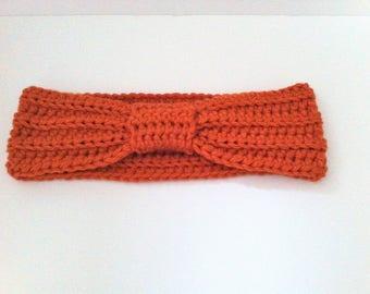 Headband, ear muffs orange crochet bow