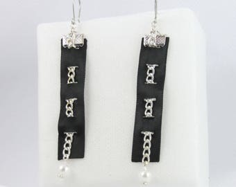 Satin ribbon and chain earrings finished with a White Pearl