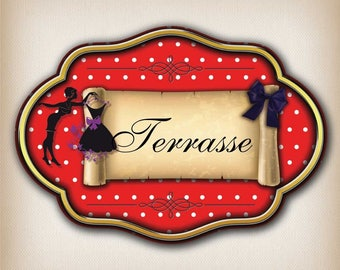 Sticker door vintage terrace dot 008