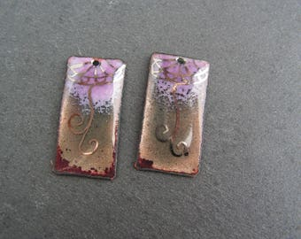 charms, charms in enamelled copper (hot) grey, purple, Platinum