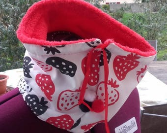 Snood Strawberry kids winter scarf