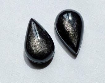 Set of 2 cabochon silver Obsidian - Lot Belladonna