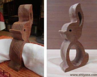 Napkin rabbit 3 wooden fretwork (thick)