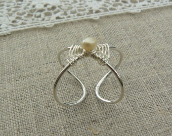 Ring silver band, elliptical, sterling silver wire weaving, Pearl
