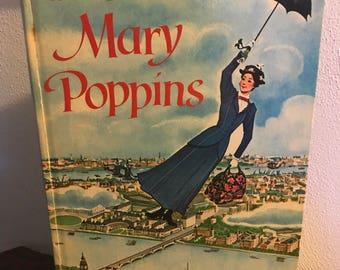 Disney Mary Poppins Big Golden Book Hardcover 1964 Walt Disney Productions 9 1/2x13 In