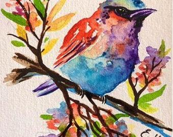 Watercolour Bird  A5