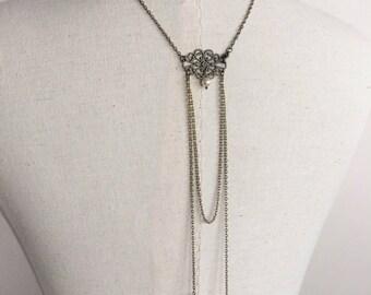 """Manon - A"" bronze necklace back wedding jewelry with swarovski pearls"