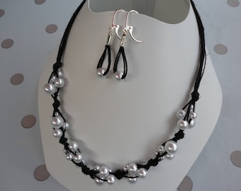 set of black linen and pearly white beads