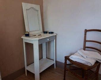 Console, French dressing table and its grey patina white mirror