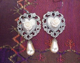 Antique Silver Heart Rose Pearl Drop Earrings