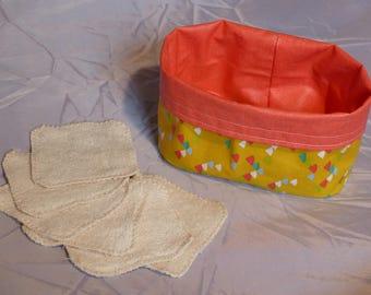 Set - 6 wipes & their little basket