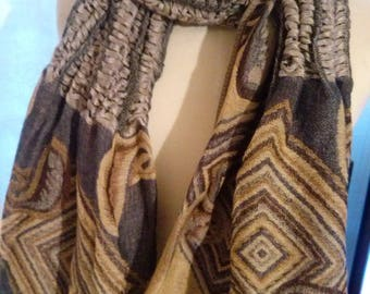 Multicolor long scarf in wool and viscose