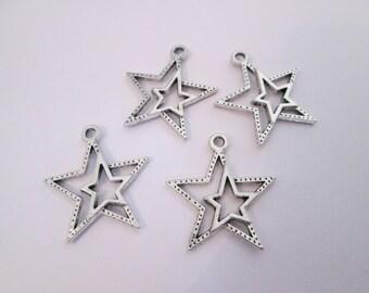 4 breloque étoile double métal argenté 23 x 21 mm
