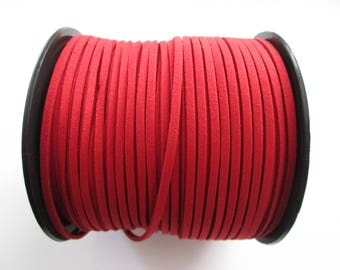 3 mètre cordon plat suédine largeur 2.5 mm couleur : rouge