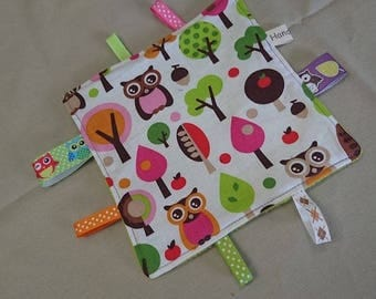 Blanket has tags cotton fleece and funky owls lime green