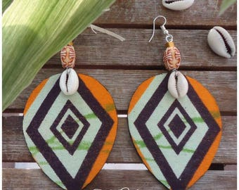 Earrings style ethnic urban chic african wax