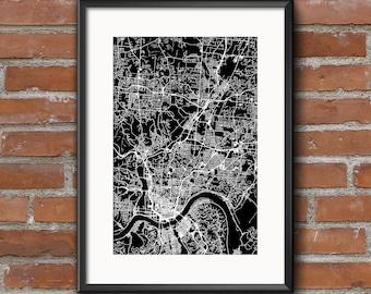 Cincinnati Map Art Print –Dark // Cincinnati Poster | Cincinnati Art | Cincinnati Print // Free Shipping