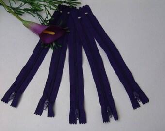 Purple zipper 20 cm - set of 5 - not separable