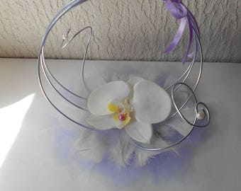 Original ring pillow - ivory and purple