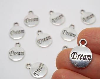 Round Silver 'Dream' Charm, Silver Coloured Charm 15 x 12mm
