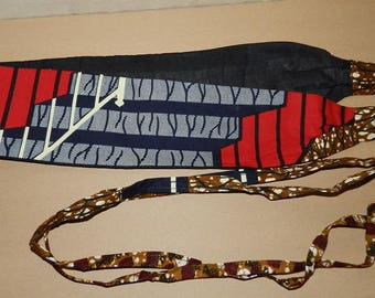 Reversible Obi belt with cotton fabric red and beige geometric pattern